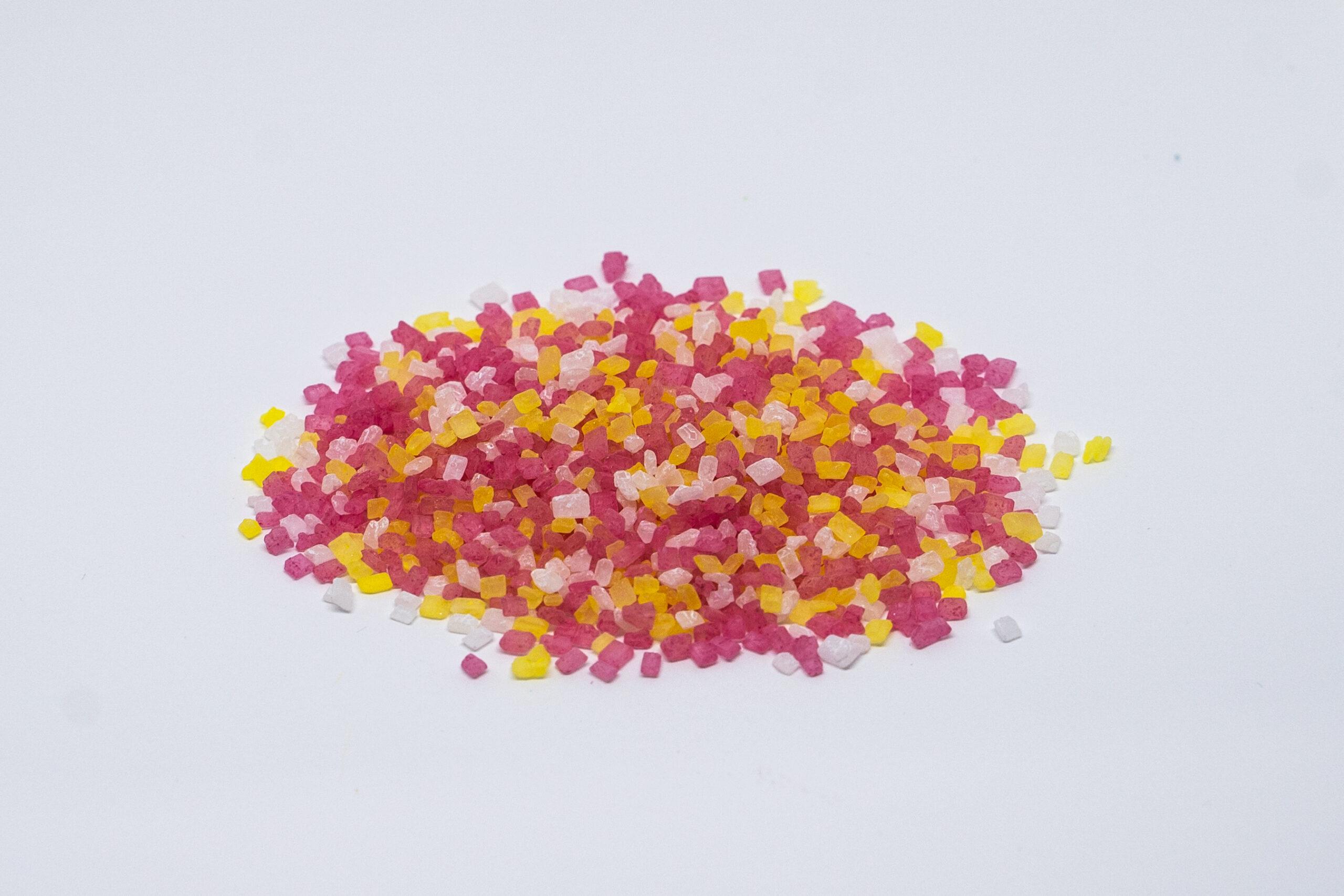Pink, White and Yellow sugar mix